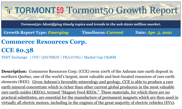 Research Update on Commerce Resources by Tormont...